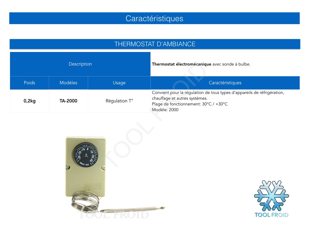 Conseils produits 1 tool froid outillage frigoriste for Thermostat chambre froide