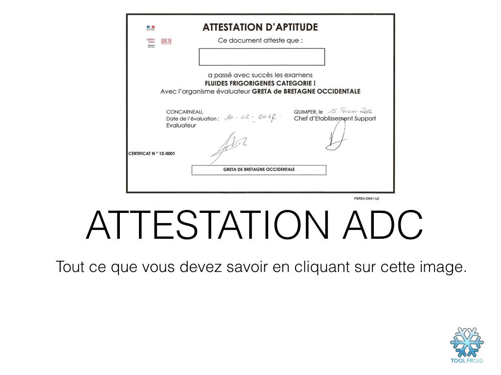 Attestation ADC fluides frigoriènes